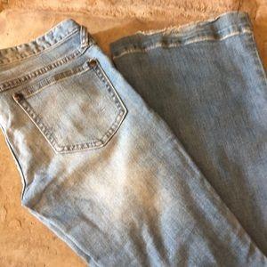 "Free People Wide Leg Jeans Size 27 Inseam 33.5"""